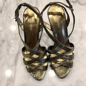 Nine West gold strappy heels